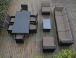 Ohana 14-Piece Outdoor Patio Furniture Sofa and Dining Set Black Wicker...