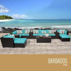TK Classics 14 Piece Barbados Outdoor Wicker Patio Furniture Set Aruba