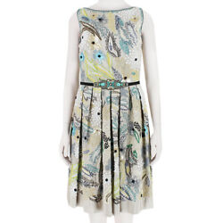 Naeem Khan Luxury Taupe Twill Silk Intricately Floral Embroidered Dress US6 UK10