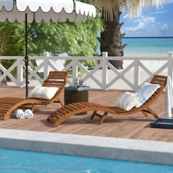 Nannette Wood Water Resistant & UV Resistant Folding Lounge Chairs (Set of 2)