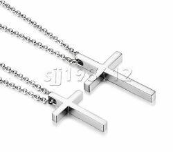 Simple Stainless Steel Silver Cross Pendant Necklace for Men Women Chain 20