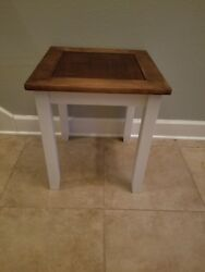 Farmhouse End Table w Wood Top Rustic Living Room Decor Brown White $65.00