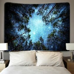 USA Night Forest Tapestry Starry Sky Wall Hanging Art Tree Bedspread Home Decor $14.12