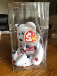"""RARE TY Beanie Baby """"GLORY BEAR"""" with Error Swing Tag dated July 7 1997 MINT CON"""