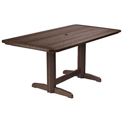 Recycled Plastic Double Pedestal Dining Table wBase Chocolate 72