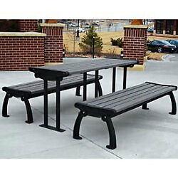 Heritage Picnic Table Recycled Plastic 6 Ft Black & Gray Lot of 1