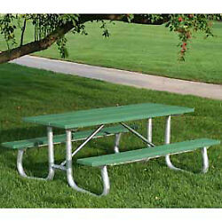 8' Galvanized Frame Picnic Table Recycled Plastic Green Lot of 1