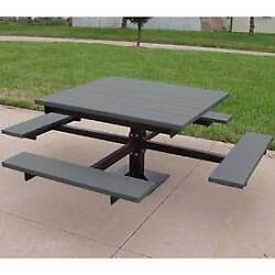 4' T-Table Recycled Plastic Gray Lot of 1