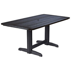 Recycled Plastic Double Pedestal Dining Table wBase Black 72