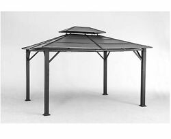 Rolla 10 ft. x 12 ft. Black Steel Gazebo Garden Home Shed Patio Outdoor Decor