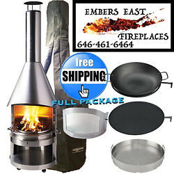 Mercatus BBQ Grill Outdoor Fireplace Chiminea Fire Pit Wood Burning Stainless