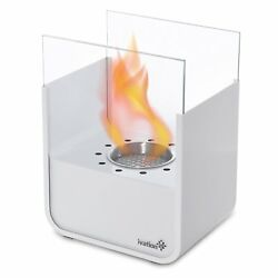 Small Tabletop Fireplace White Stainless Steel Portable Bio Indoor  Outdoor