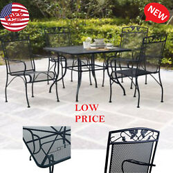 5 Piece Patio Dining Set Wrought Iron Mesh Table Chairs Seats 4 Outdoor Furnitur
