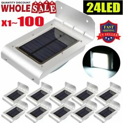 LOT 1-100pcs IP65 24LED Garden Solar Motion Sensor Outdoor Garden Wall Light BP
