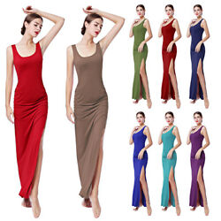 Women Sleeveless Solid Long Maxi Dress Casual Holiday Party Shirring Dresses New