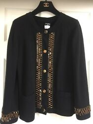 Chanel 11A Most Wanted Black Cashmere Jacket Jeweled trim Gripoix CC buttonsFR42