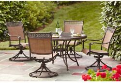 Furniture Outdoor Aluminum Swivel Rocking Chair 5Piece Sling Patio Dining Set