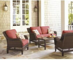Home Furniture Traditional 4Pcs Wicker Outdoor Patio Seating Set with Cushion