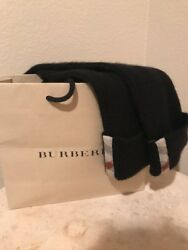 Burberry 100%Cashmere Black to Check Elbow Length Fingerless Gloves One Size New