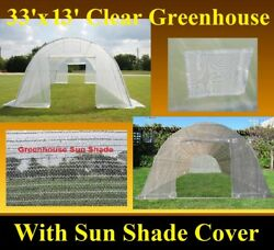 Green Garden House Walk In Greenhouse 33'x13' Clear + Mesh Cover