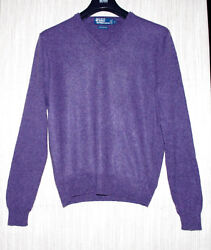 Polo by Ralph Lauren Purple Italian Yarn Cashmere V Neck Men's Sweater Size:L
