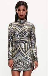missguided dress size 6 black beaded mini small gold amp; silver accents $100.00