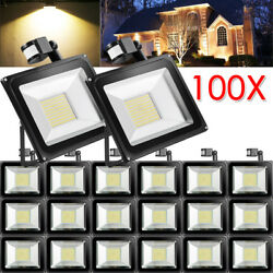 100X 100W PIR Motion Sensor LED Flood Light Warm White Outdoor Security Yard Gym