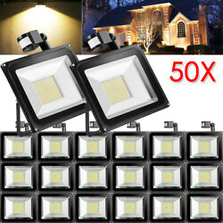 50X 100W PIR Motion Sensor LED Flood Light Warm White Outdoor Security Yard Lamp