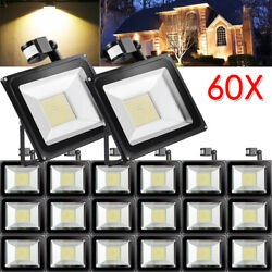 60X 100W PIR Motion Sensor LED Flood Light Warm White Outdoor Security Yard Lamp