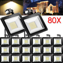 80X 100W PIR Motion Sensor LED Flood Light Warm White Outdoor Security Yard Lamp