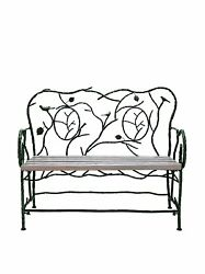 DecMode Birds and Leaves 46 in. Wrought Iron Garden Bench