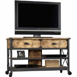 TV Stand Panel Country Antiqued Drawers Shelf Furniture Home Rustic TVs up 52