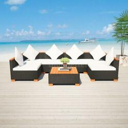 Outdoor Garden Sofa Lounge Couch Set Patio Wicker Rattan WPC Polywood New L5S7