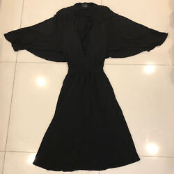 RARE Fendi Authentic Long Black Low Cut Flowing Dress Size 44 Italy 100% Viscosa