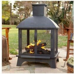 Outdoor Fire Ring Pit Grill Fireplace Metal Wood Burning Portable Patio Pitfire