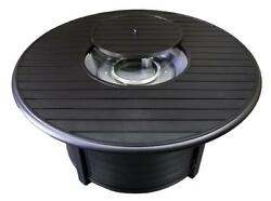 Hiland F-1350-FPT Extruded Aluminum Round Slatted Fire Pit Large Black...