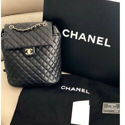 CHANEL URBAN SPIRIT LARGE LAMBSKIN BLACK QUILTED BACKPACK GOLD M NWT