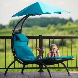 Blue Canopy Single Seat Patio Chaise Lounge Hammock Home Outdoor Furniture Deck