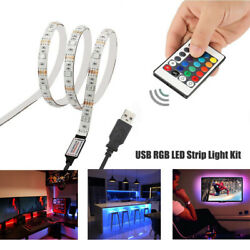 5V USB LED Strip Lights TV Back Light 5050 RGB Colour Changing with 24Key Remote $10.99