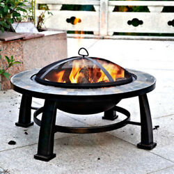 Fire Pit Round Slate Table Lawn Garden Patio Furniture Heavy Duty Cover Lid New