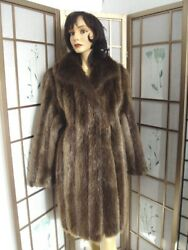 $BRAND NEW BEAVER FUR COAT JACKET WITH SCARF WOMAN WOMEN SIZE ALL