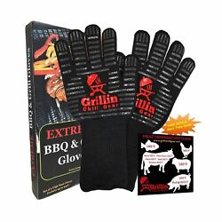 Fireplace & BBQ Grilling Gloves by Grill & Chill - 932°F Extreme Heat Resistant