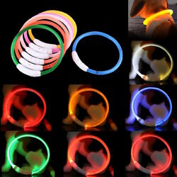 RECHARGEABLE TUBE LED PET GLOW COLLAR safety adjustable flash light up FOR dog $9.50