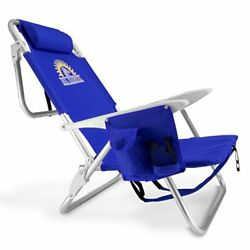 Reclining Beach Chair 4Position Lay Flat Reclining Backpack Carry Straps BlueNew