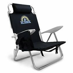Reclining Beach Chair 4Position Flat Reclining Backpack Carry Straps Black New