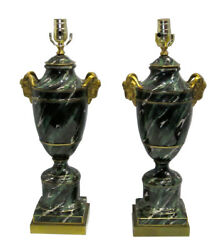 Mid Century French Faux Malachite Pair Lamps $4950.00