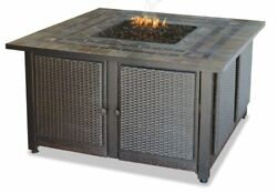 LP GAS OUTDOOR FIREBOWL WITH SLATE TILE MANTEL & COPPER ACCENTS