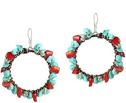 Copper Wire Reconstructed Red Coral And Simulated Turquoise .925 Sterling Hoop
