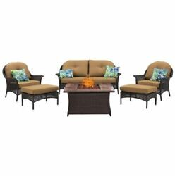 6-Piece Fire Pit Lounge Set in Country Cork-wood grain tile top