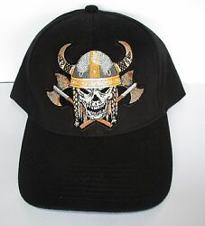 Viking Skull Horns and Axes 100% Cotton Cap Hat Embroidered Design Men's Shed